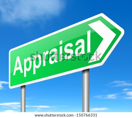 Illustration depicting a sign with an appraisal concept.
