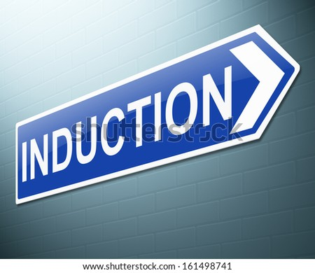 Illustration depicting a sign with an induction concept. - stock photo