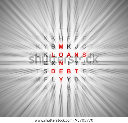 Illustration depicting a simple wordsearch puzzle with motion blur resulting in central financial words in focus. - stock photo