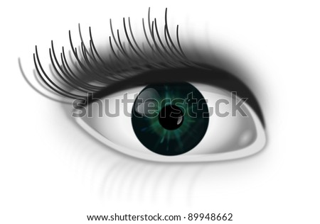 Illustration depicting a single green human eye with white background. - stock photo