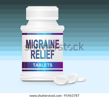Illustration depicting a single medication container with the words 'migraine relief tablets' on the front with blue gradient striped background and a few tablets in the foreground. - stock photo