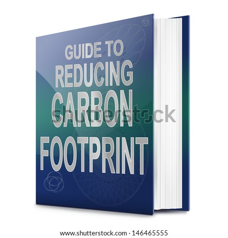 Illustration depicting a text book with a carbon footprint concept title. White background. - stock photo