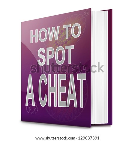 Illustration depicting a text book with a cheating concept title. White background.