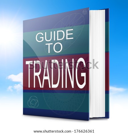 Illustration depicting a text book with a trading concept title. Sky background. - stock photo