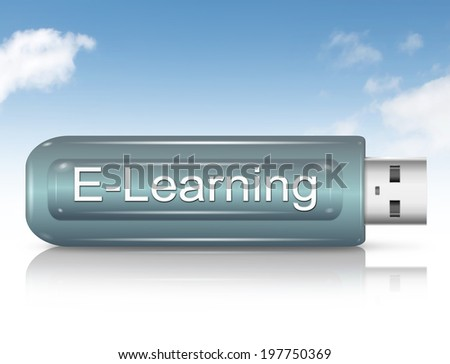 Illustration depicting a usb flash drive with an E-Learning concept. - stock photo