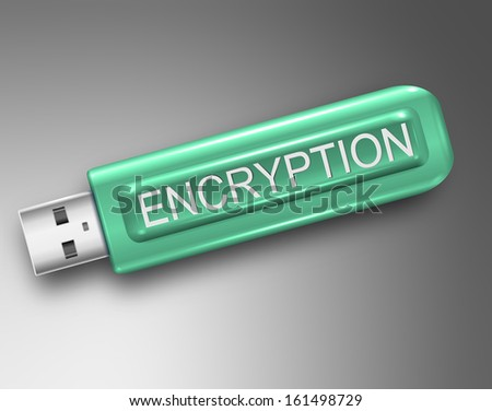 Illustration depicting a usb flash drive with an encryption concept. - stock photo