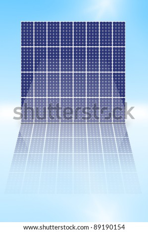 Illustration depicting a vertical array of photovoltaic solar panels reflecting into a shiny foreground. - stock photo