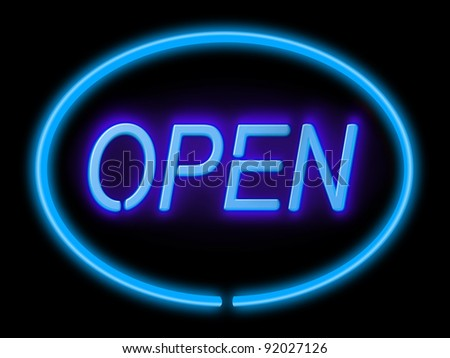 Illustration depicting an illuminated blue 'open' sign with black background,