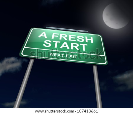 Illustration depicting an illuminated green roadsign with a fresh start concept. Night sky background. - stock photo