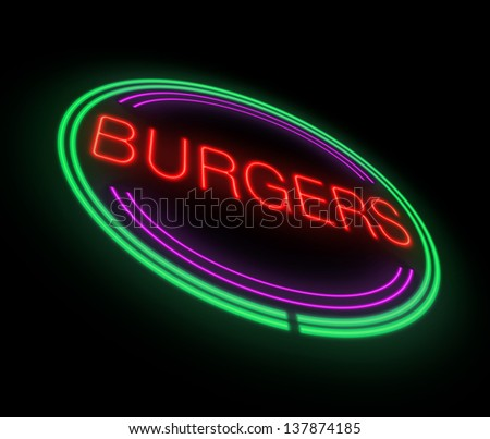 Illustration depicting an illuminated neon burgers sign.