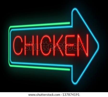 Illustration depicting an illuminated neon chicken sign. - stock photo