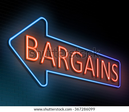 Illustration depicting an illuminated neon sign with a bargains concept. - stock photo