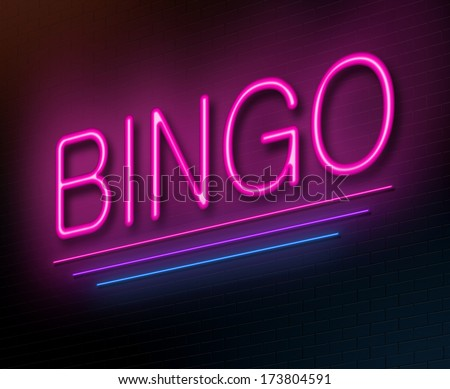 Illustration depicting an illuminated neon sign with a bingo concept. - stock photo