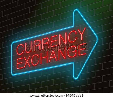 Illustration depicting an illuminated neon sign with a currency exchange concept. - stock photo