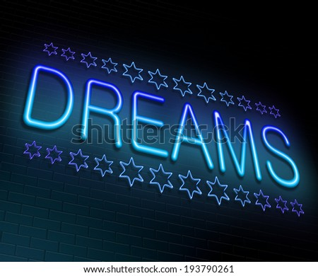 Illustration depicting an illuminated neon sign with a dreams concept. - stock photo