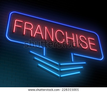 Illustration depicting an illuminated neon sign with a Franchise concept. - stock photo