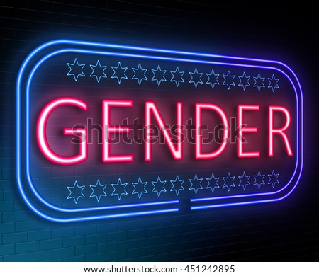 Illustration depicting an illuminated neon sign with a gender concept. - stock photo
