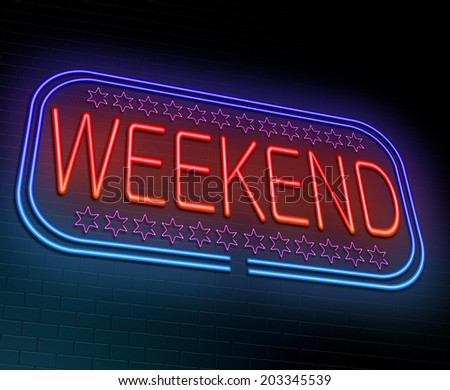 Illustration depicting an illuminated neon sign with a weekend concept. - stock photo