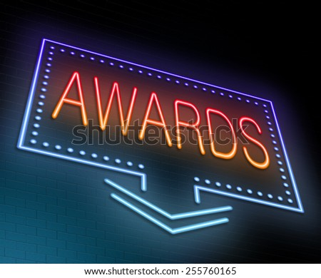 Illustration depicting an illuminated neon sign with an awards concept. - stock photo