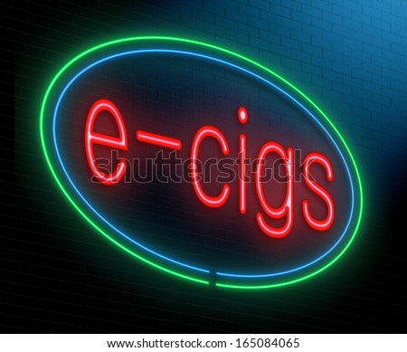 Illustration depicting an illuminated neon sign with an e-cigarette concept.