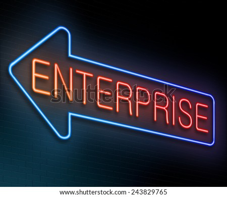 Illustration depicting an illuminated neon sign with an enterprise concept. - stock photo