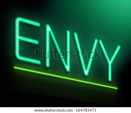 Illustration depicting an illuminated neon sign with an envy concept. - stock photo