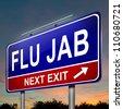 Illustration depicting an illuminated roadsign with a flu jab concept. Dark sky background. - stock photo