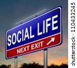 Illustration depicting an illuminated roadsign with a social life concept. Dark sunset background. - stock photo