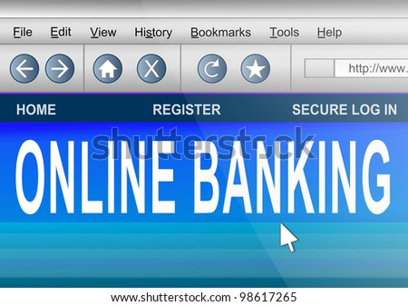 Illustration depicting computer screen shot of an internet browser with an online banking concept. - stock photo