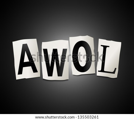 ... cut out letters arranged to form the word AWOL. - stock photo