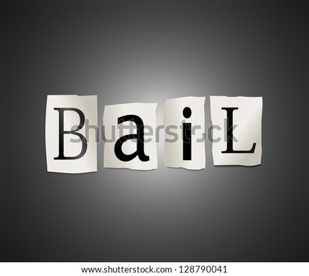 Illustration depicting cutout printed letters arranged to form the word bail. - stock photo