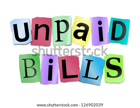 Illustration depicting cutout printed letters arranged to form the words unpaid bills.