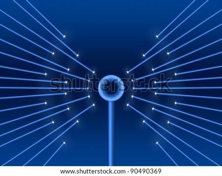 Illustration depicting illuminated fiber optic light strands forming a wifi symbol. - stock photo