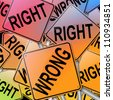Illustration depicting many signs with a right and wrong concept. - stock photo