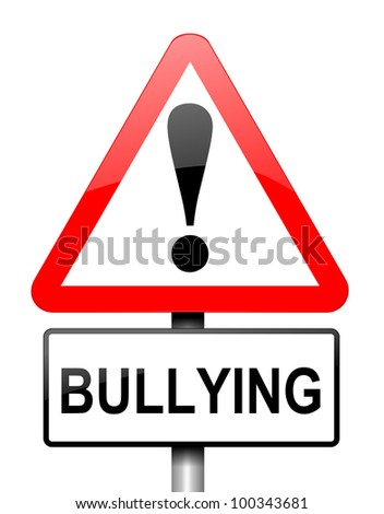 Illustration depicting red and white triangular warning road sign with a bullying concept. White background.