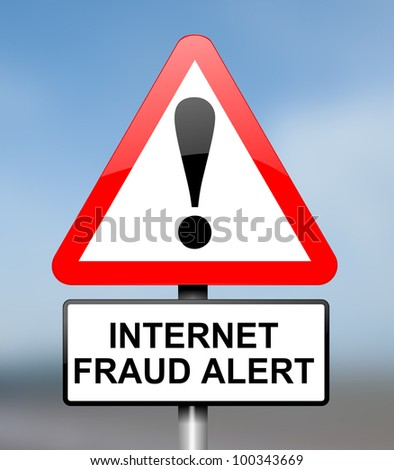Illustration depicting red and white triangular warning road sign with an internet fraud concept. Blue blur background. - stock photo