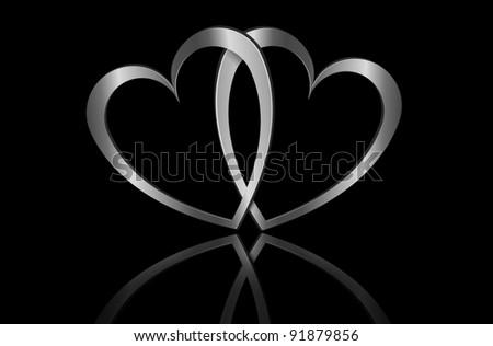 Illustration depicting two metallic hearts arranged over black. - stock photo