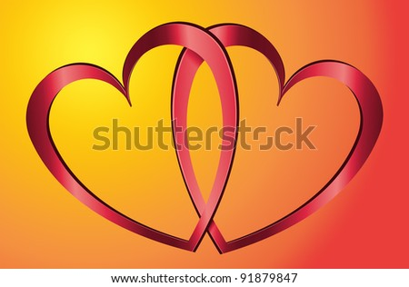 Illustration depicting two metallic red hearts arranged over warm yellow and red blur background. - stock photo