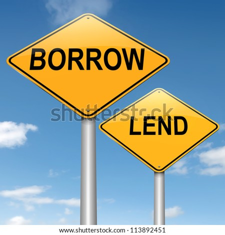Illustration depicting two roadsigns with a borrow or lend concept. Blue sky background. - stock photo