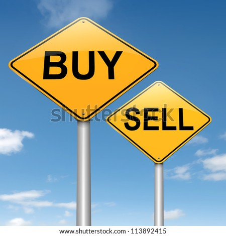 Illustration depicting two roadsigns with a buy or sell concept. Sky background. - stock photo