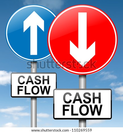 Illustration depicting two roadsigns with a cash flow concept. Blue sky background.