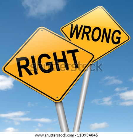 Illustration depicting two roadsigns with a right or wrong concept. Blue sky background. - stock photo