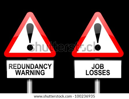 Illustration depicting two triangular warning road signs with a redundancy concept. Black background. - stock photo