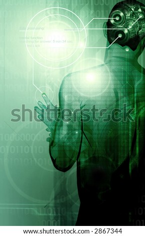 illustration describing a man with gears inside his head thinking of a solution and the idea to solve the problem,in the background binary data codes and wireframe scan lines - stock photo