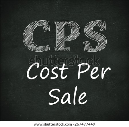 Illustration design of concept of cps - cost per sale on black chalkboard - stock photo