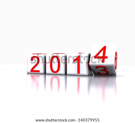 illustration - Dice with the new year, 2014 - stock photo