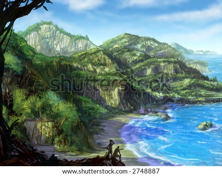 Illustration: Digital Acrylics Painting of a tropical coast