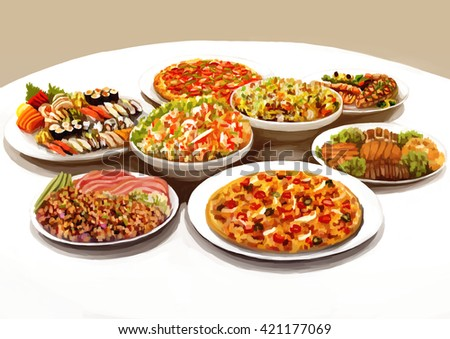 illustration digital painting meal table  - stock photo