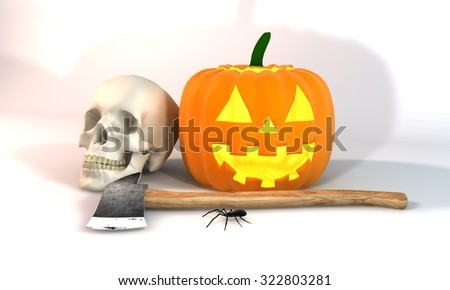 Illustration 3 dimensional rendering about Halloween festivities on white background. - stock photo