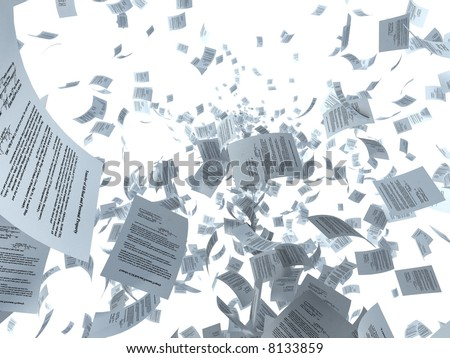 Illustration. Documents and sheets of paper flying - stock photo